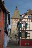 Bergheim阿尔萨斯村庄  库存图片