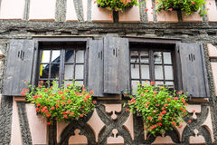 Bergheim (Alsace) - House and flowers Royalty Free Stock Photography