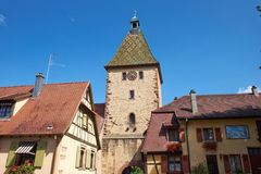 Bergheim France clock tower Royalty Free Stock Photography