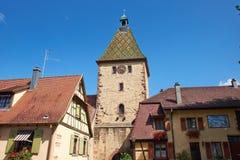 Bergheim Frankrike klockatorn Royaltyfri Fotografi