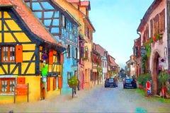 Bergheim, regione di Strasburgo Immagini Stock Libere da Diritti