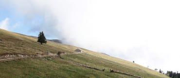 Berghelling in Bewolkt Weer stock afbeelding