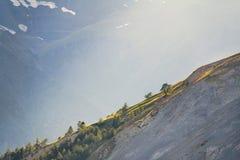 Berghelling in het zonlicht stock afbeeldingen