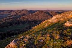 Berghelling in het zonlicht Stock Fotografie