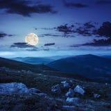 Berghelling met witte keien bij nacht Stock Fotografie