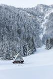 Berghut in de winterlandschap Royalty-vrije Stock Foto's