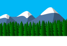 bergig liggande stock illustrationer