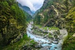 Bergkanjondal härlig liggandeflod Arkivfoto