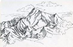 Bergketen drawin in inkt Royalty-vrije Stock Fotografie