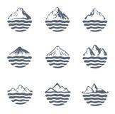 Bergketen meer dan een meer, een overzees of een oceaan, openluchtembleemreeks, vectorillustratie Royalty-vrije Stock Fotografie
