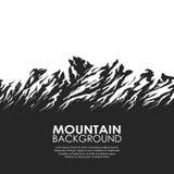 Bergketen op witte achtergrond wordt geïsoleerd die Royalty-vrije Stock Foto