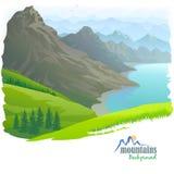 Bergketen, Rivier en Groene Vallei royalty-vrije illustratie