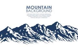 Bergketensilhouet op wit wordt geïsoleerd dat Royalty-vrije Stock Afbeeldingen