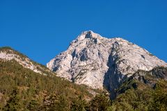 Bergklipp i de österrikiska fjällängarna De vita bergen omges av andra, bevuxet med träd Arkivbilder