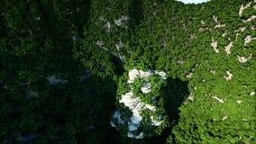 Bergklippen met bomen Luchtcameralengte Het landschap van de fantasie stock video