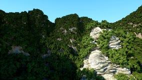 Bergklippor med träd solnedgång för sun för sky för lampa för fågelfantasiliggande magisk framförande 3d Arkivbilder