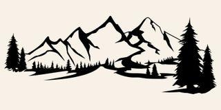 Bergkonturer Berg vektorn, bergvektorn av utomhus- designbeståndsdelar, berglandskap, träd, sörjer vektorn, vektor illustrationer