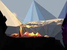 Berglandschaft mit aufgehende Sonne, Dorf und Felsen vektor abbildung