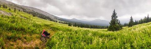 Berglandschaft mit dem Reisen des Fahrrades Stockbilder