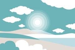 Berglandschaft mit einem See Himmel mit Wolken Farbige handgemachte Abbildung Reise, Tätigkeiten im Freien, Sport im Freien, Feri
