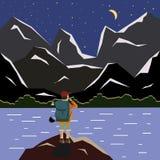 Berglandschaft mit einem See nachts Reisender Naturwissenschaftler lizenzfreie abbildung