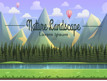 Berglandschaft mit Fluss, Gras und Koniferenwald Vector Illustration Stockfotografie