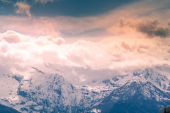 Berglandschaft mit Schnee Stockbild