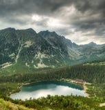 Berglandschaft mit Teich- und Gebirgschalet stockbilder