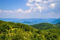 Berglandschaft mit Wäldern und Wiesen Stockfoto