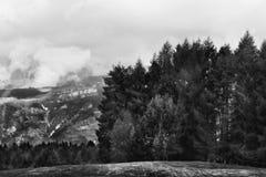 Berglandschaft in Schwarzweiss stockfotos
