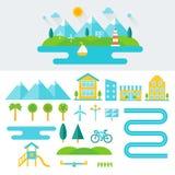 Berglandschafts-Illustration und Satz Elemente Umweltfreundlicher Lebensstil und stützbares lebendes Konzept Flaches Design Stockbilder