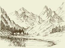 Berglandschaftsskizze lizenzfreie abbildung