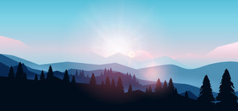Berglandschap bij zonsondergang en dageraad stock illustratie