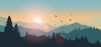 Berglandschap bij zonsondergang en dageraad royalty-vrije illustratie