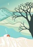 Berglandschap in de stijl van de laagkunst Feest van Kerstmis Illusie van diepte in romantische de winterscène met landelijk huis royalty-vrije illustratie