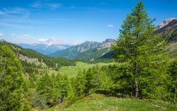 Berglandschap in de zomer en de donkerblauwe hemel met wolken in Trentino Alto Adige Mening van Passo Rolle, Italiaans Dolomiet,  Stock Afbeeldingen