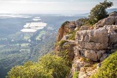 Berglandschap, Hogere Galilee in Israël Stock Fotografie