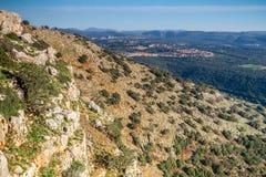 Berglandschap, Hogere Galilee in Israël Stock Afbeeldingen