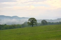 Berglandschap kort na de lenteregen Royalty-vrije Stock Afbeelding