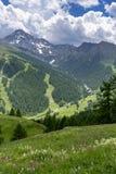 Berglandschap langs de weg aan Colle-dell 'Assietta stock foto's