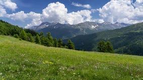 Berglandschap langs de weg aan Colle-dell 'Assietta royalty-vrije stock afbeeldingen