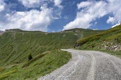 Berglandschap langs de weg aan Colle-dell 'Assietta royalty-vrije stock foto