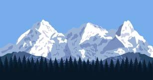 Berglandschap met bos en rotsen Royalty-vrije Stock Afbeeldingen
