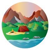 Berglandschap met een meer bij dageraad royalty-vrije illustratie