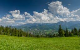 Berglandschap met groene weide en stad in de vallei Stock Foto