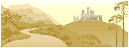 Berglandschap met oud middeleeuws kasteel op de heuvel han stock illustratie