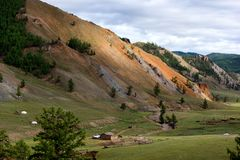 Berglandschap in Mongolië Royalty-vrije Stock Foto