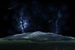 Berglandschap over nachthemel of ruimte Royalty-vrije Stock Foto's