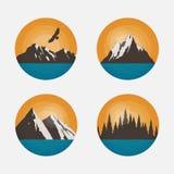Berglandschappen in een cirkel Royalty-vrije Stock Afbeeldingen