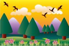 Berglandskap stock illustrationer
